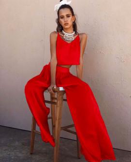 Γυναικείο σετ τοπάκι και παντελόνι 5069 κόκκινο