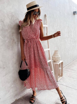 Γυναικείο φόρεμα κρουαζέ 21313 κόκκινο