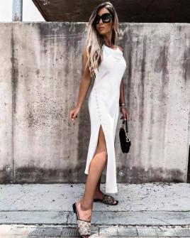 Γυναικείο φόρεμα σατέν 5716 άσπρο