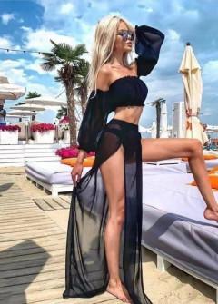 Γυναικείο σετ τοπάκι και φούστα 21530 μαύρο