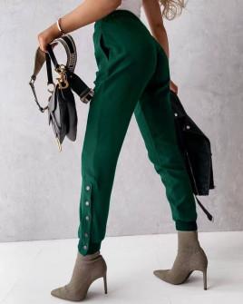 Γυναικείο παντελόνι με κουπιά στο πόδι 5954 χακί