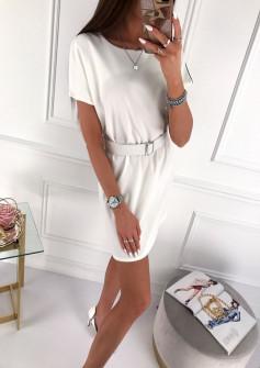 Γυναικείο φόρεμα με ζώνη 5055 άσπρο