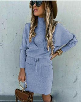 Γυναικείο σετ φούστα και μπλούζα 26891 γαλάζιο