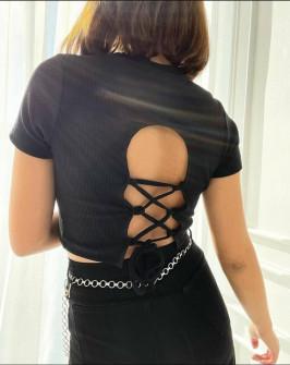 Γυναικείο κοντομάνικο με εντυπωσιακή πλάτη 7771 μαύρο