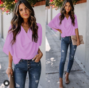 Γυναικεία μπλούζα με χαλαρό ντεκολτέ 50811 βιολετί
