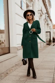Γυναικείο παλτό με ζώνη 5373 πράσινο
