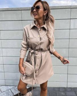 Γυναικείο δερμάτινο φόρεμα με τσέπες 21851 μπεζ