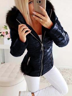 Γυναικείο μπουφάν με φούντα και γούνινη κουκούλα 81299 σκούρο μπλε