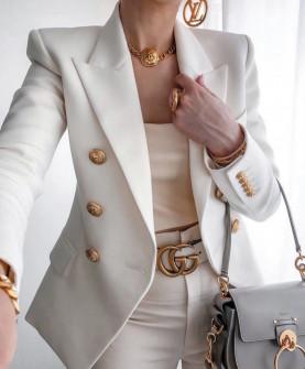 Γυναικείο κομψό σακάκι με χρυσά κουμπιά 3913 άσπρο