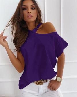 Γυναικεία μπλούζα με έναν ώμο έξω 5030 μωβ
