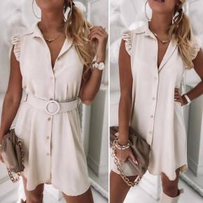 Γυναικείο φόρεμα με ζώνη και κουμπιά 5687 μπεζ