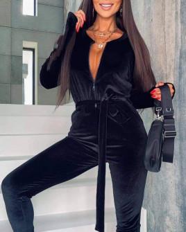 Γυναικεία ολόσωμη φόρμα με φερμουάρ και ζώνη 4006 μαύρο