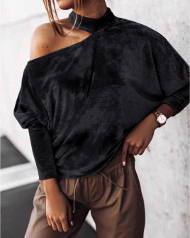 Γυναικεία μπλούζα βελουτέ 5387 μαύρη