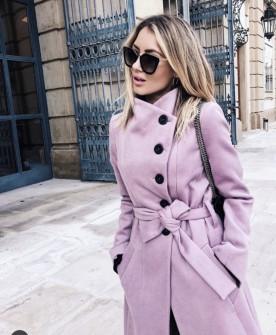 Γυναικείο παλτό με κουμπιά και ζώνη 18915 ροζ