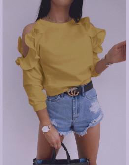 Γυναικεία μπλούζα έξωμη 5265 κίτρινη