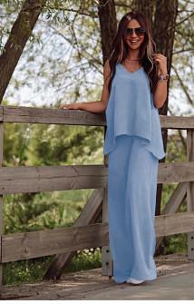 Γυναικείο χαλαρό σετ τοπάκι και παντελόνι 5154 γαλάζιο