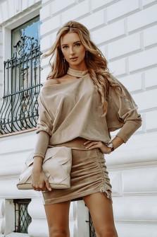 Γυναικείο σετ φούστα και μπλούζα 3495 μπεζ
