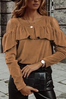 Γυναικεία μπλούζα βελουτέ 5385 καμηλό