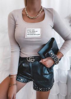 Γυναικέια μπλούζα με στάμπα 4806 μπεζ