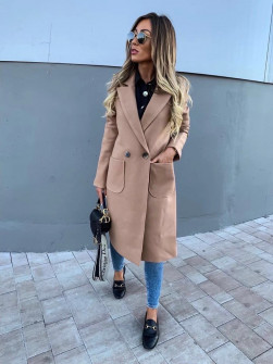 Γυναικείο μακρύ παλτό με φόδρα 19690 μπεζ