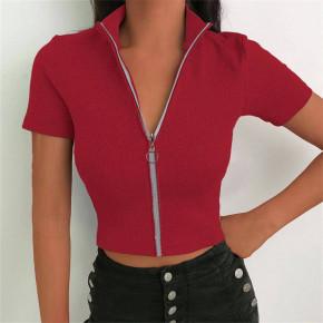 Γυναικεία μπλούζα με φερμουάρ 36675 κόκκινο