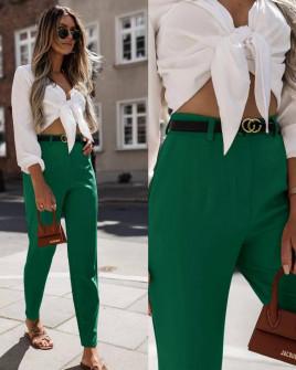 Γυναικείο παντελόνι με ζώνη 5887 πράσινο