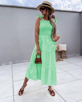 Γυναικείο φόρεμα με τσέπες 5760 ανοιχτό πράσινο