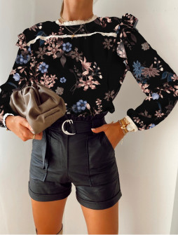 Γυναικεία μπλούζα με print 5341 μαύρη