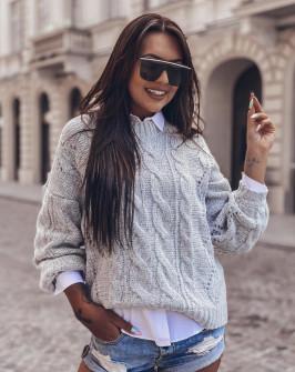 Γυναικείο εντυπωσιακό πουλόβερ 8053 γκρι