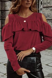Γυναικεία μπλούζα βελουτέ 5385 μπορντό