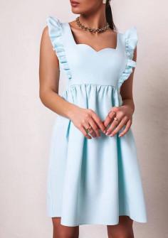 Γυναικείο φόρεμα με εντυπωσιακό ντεκολτέ 20510 γαλάζιο