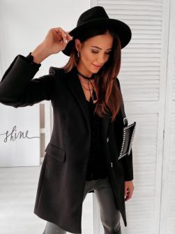 Γυναικείο εντυπωσιακό παλτό με φόδρα 20378 μαύρο