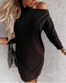 Γυναικείο έξωμο μπλουζοφόρεμα 4855 μαύρο