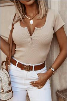 Γυναικείο κοντομάνικο μπλουζάκι 5586 μπεζ
