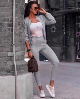 Γυναικείο σετ βελουτέ μπουφάν και παντελόνι 3734 γκρι