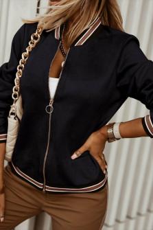 Γυναικείο βελουτέ μπουφάν 6001 μαύρο