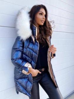 Γυναικείο μπουφάν με χνουδωτό γιακά και κουκούλα MF2101 μπλε