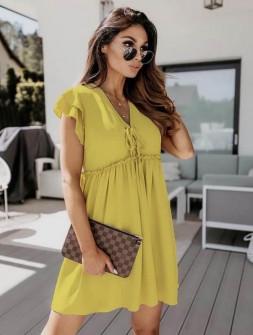 Γυναικείο φόρεμα με κορδόνια 2481 κίτρινο