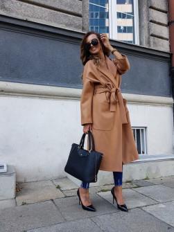Γυναικείο παλτό με φόδρα 5325 καμηλό