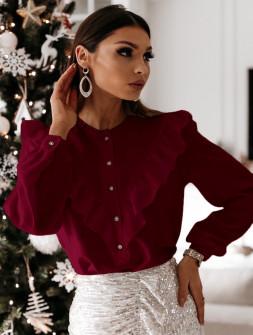 Γυναικείο πουκάμισο με εντυπωσιακό ντεκολτέ 3963 μπορντό