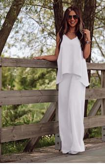 Γυναικείο χαλαρό σετ τοπάκι και παντελόνι 5154 άσπρο