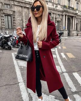 Γυναικείο μακρύ παλτό με φερμουάρ εσωτερικό και φόδρα 6072 μπορντό