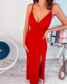 Γυναικείο μακρύ φόρεμα με σκίσιμο 5083 κόκκινο