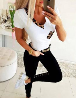 Γυναικεία μπλούζα με λεοπάρ print 4331 άσπρο