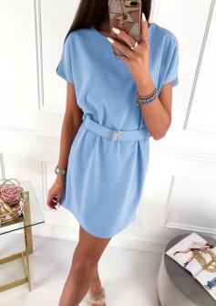 Γυναικείο φόρεμα με ζώνη 5055 γαλάζιο