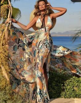 Γυναικείο αέρινο μακρύ φόρεμα 5077