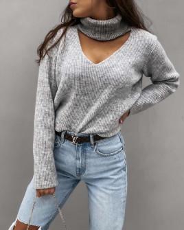 Γυναικείο εντυπωσιακό πουλόβερ 8164 γκρι