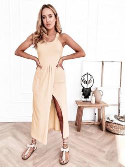 Γυναικείο φόρεμα με σκίσιμο 8215 μπεζ