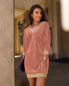 Γυναικείο βελουτέ μπλουζοφόρεμα 3297 ροζ