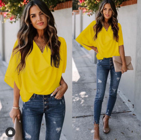 Γυναικεία μπλούζα με χαλαρό ντεκολτέ 50811 κίτρινο